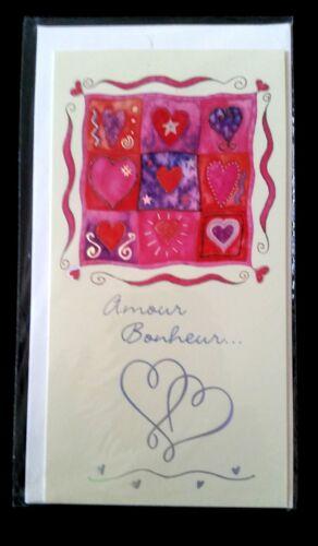 E45) Carte Amour et Bonheur + enveloppe - Neuf