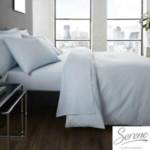 Serene-Easy-Care-Bedding-Set-Duvet-Cover-Fitted-amp-Flat-Sheets-in-Duck-Egg-Blue