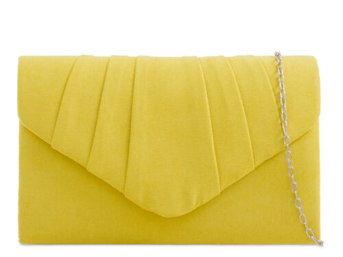 Ladies Faux Suede Clutch Bag Girls Pleated Prom Party Evening Bag Handbag KW308