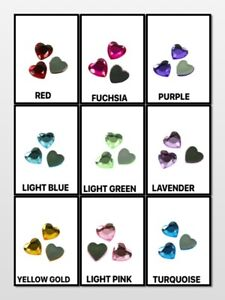 30-Pieces-14MM-Flat-Back-Acrylic-HEART-Shape-Faceted-Rhinestones
