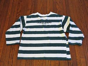 Boys VTG 90's Guess Jeans USA Green White Striped Long Sleeve ...