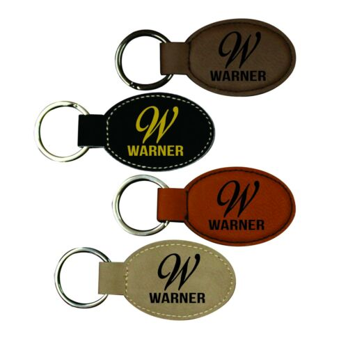 Engraved Leather Keychain with Initial and Name