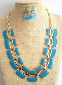 Blue retro gold Plated art deco Enamel fashion Necklace Earrings Set - london, London, United Kingdom - Blue retro gold Plated art deco Enamel fashion Necklace Earrings Set - london, London, United Kingdom