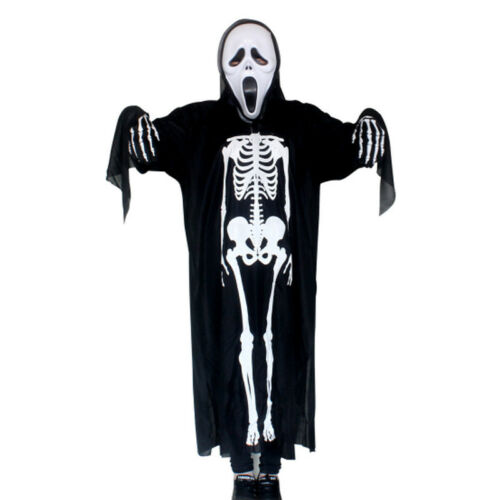 Adults Skeleton Costume Children Haunted House Halloween Fancy Dress Kids Outfit
