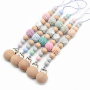 Crochet-Bois-Silicone-Perles-Dummy-sucette-chaine-Clip-Bebe-Hetre-Sucettes-Support
