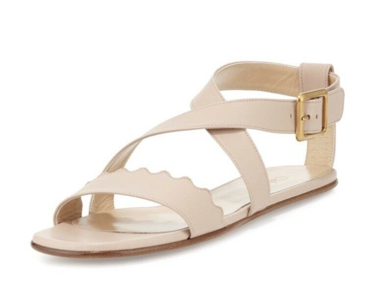 CHLOE Authentic Criss Cross Scalloped Nude Sandals - French 38 = US 8