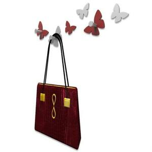 Appendiabiti Da Parete Farfalle.Dettagli Su Appendiabiti Da Parete Moderno Farfalle Legno Rosso Rubino E Grigio Callea Desig