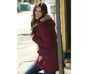 BNWT NEW LADIES YOURSTYLE BURGUNDY PADDED PARKA COAT SIZE 10 FUR ...