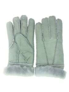 Women-039-s-Genuine-Sheepskin-Lite-Grey-Warm-Leather-Shearling-Fur-Gloves