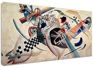 Quadro-moderno-Astratto-Kandinsky-Bianco-1-Arte-Arredo-Stampa-su-tela-Intelaiato