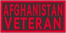 AFGHANISTAN VETERAN  Embroidered Iron-On Patch  Biker Emblem Red   Border