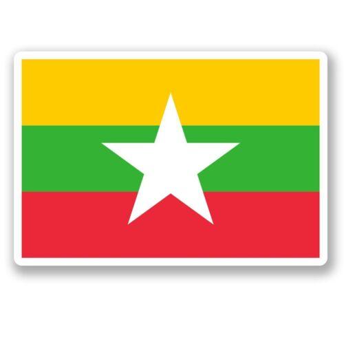 2 x Burma Flag Vinyl Sticker Laptop Travel Luggage #4553