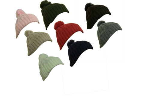 Mens Smart Chunky Cable Knit Warm Bobble Beanie Hat Cap Womens Winter Fashion