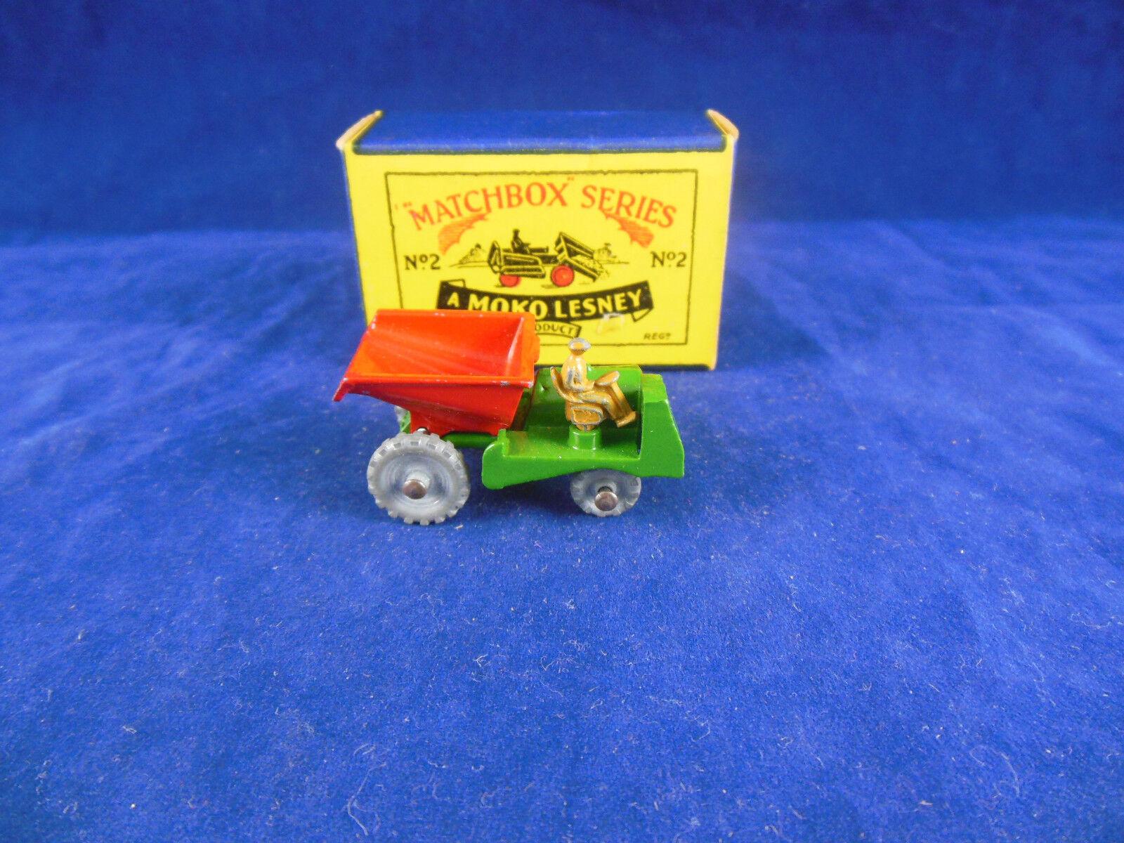 Matchbox Series no.2 a muir Hill site Dumper Green Tan Driver Original & Superb
