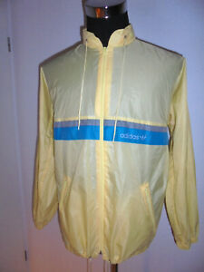 vintage-80s-Adidas-Regenjacke-Nylon-Jacke-oldschool-80er-glanz-gelb-D44-M-L
