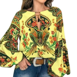 Women Flutter Sleeve V-neck Floral Casual Boho Beach Summer Blouse Shirts Tops