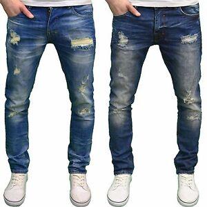 DML Jeans Men s Slim Fit Straight Leg Stretch Ripped Detail Denim ... c88ba785e