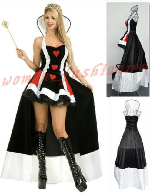 Sexy Adult Womens Queen of Hearts Costume Halloween Party Fancy Dress M L XL 2XL