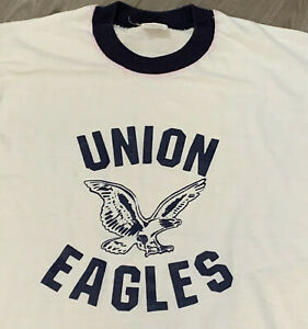 Union-Eagles-Ringer-T-Shirt-Adult-XS-S-White-Vintage-90s-USA-Christian-Academy