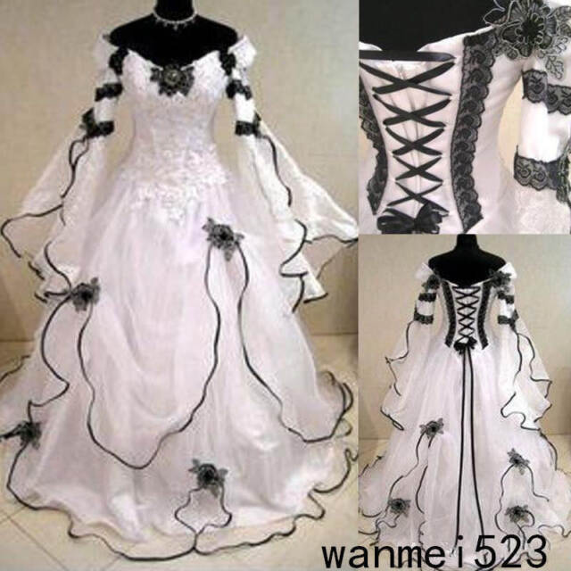Gothic Wedding Dress.Medieval Black And White Gothic Wedding Ball Gown Victorian Country Bridal Dress