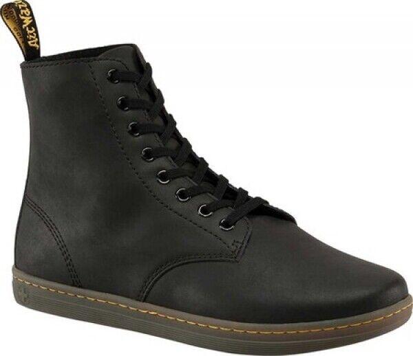 New hommes Dr Martens Tobias 8 Eye noir Greasy Guzzle bottes en cuir authentique