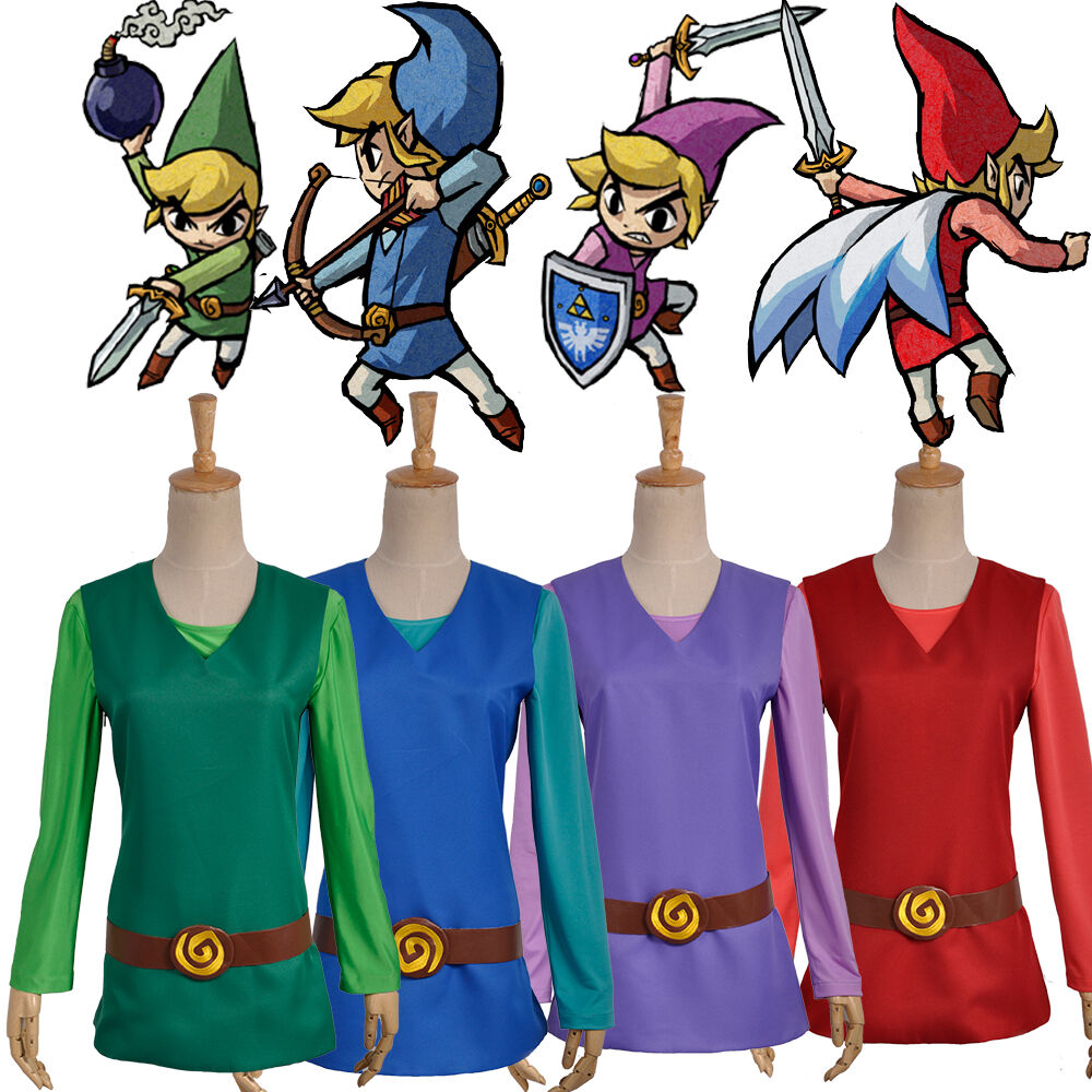The Legend of Zelda - Four Swords Link Cosplay Costume with Hat