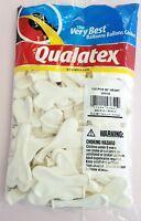 Qualatex 6 White Heart Balloons 100 Ct.