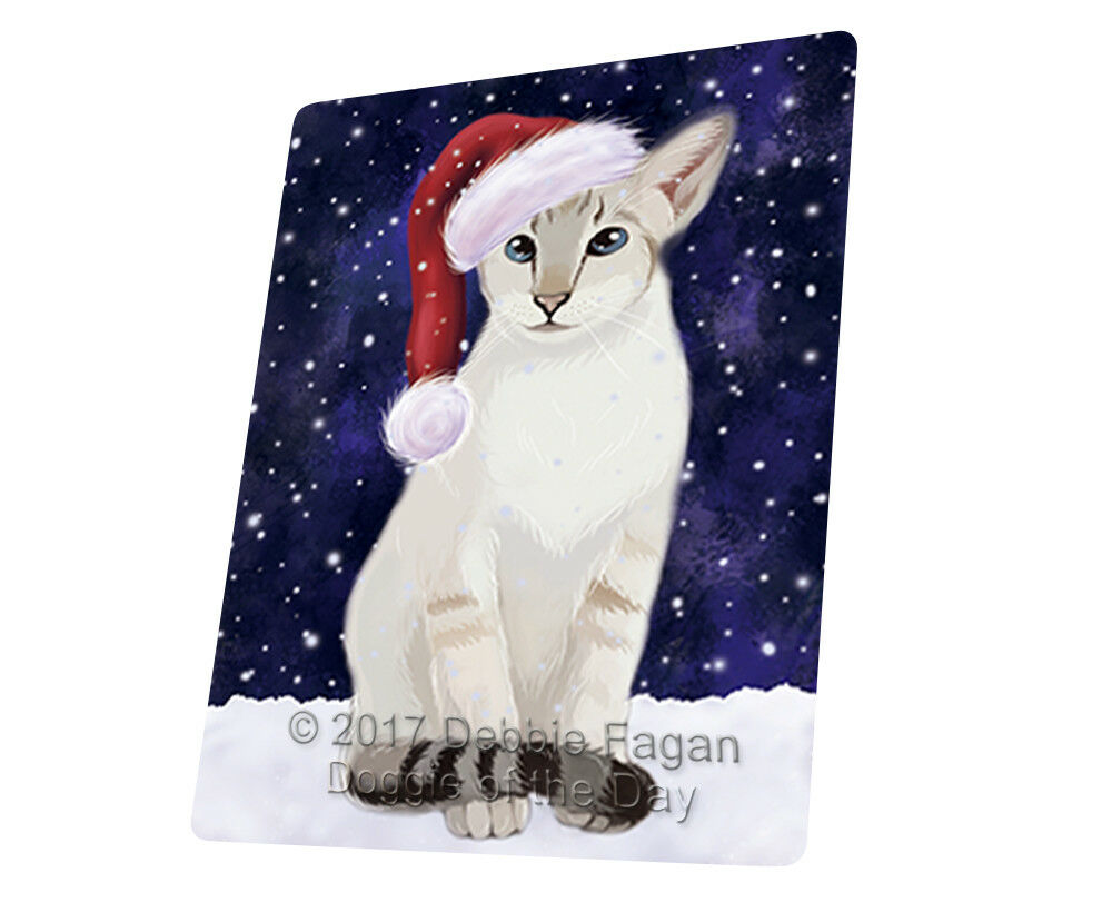 Let it Snow Oriental bluee Point Siamese Cat Woven Throw Sherpa Blanket T05