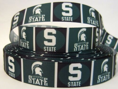 """GROSGRAIN MICHIGAN STATE SPARTANS 7//8/"""" INCH RIBBON FOR HAIR BOWS DIY CRAFTS"""