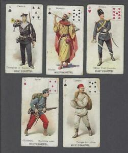 1895-Wills-039-s-Cigarettes-Soldiers-of-the-World-P-C-Inset-Tobacco-Cards-Lot-of-5
