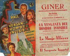 Programa de CINE. Título: LA VENGANZA DEL HOMBRE INVISIBLE. Jon Hall.