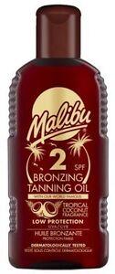 MALIBU-Olio-veloce-bronzatura-Abbronzante-SPF-2-con-fragranza-tropicale-noce-di-cocco-200-ML