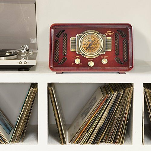 Retro Vintage Radio Wood Bluetooth 2 Stereo Speaker AM FM USB Modern Technology