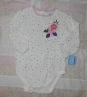 Cherokee Baby 9 Months Cream Long Sleeve With Mini Dots Snaps At The Crotch