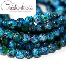 20  perles howlite en verre de diamètre 6 mm - Couleur à effet tacheté bleu+++++