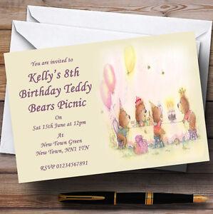 teddy bears picnic children s personalised party invitations ebay