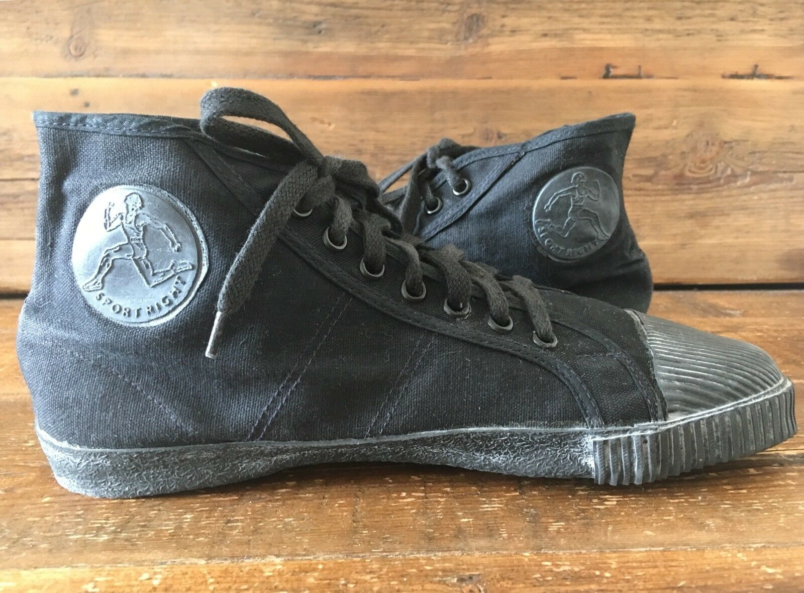 PLIMSOLL Hi Tops sportright vintage made in India taglia 8 Nero MARBOT Stile