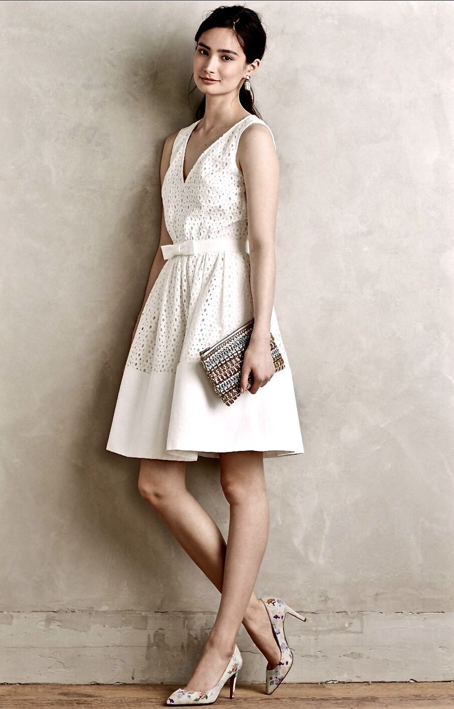NEW Erin Featherston white Eyelet Lace Bought at Anthropologie Formal Dress 8