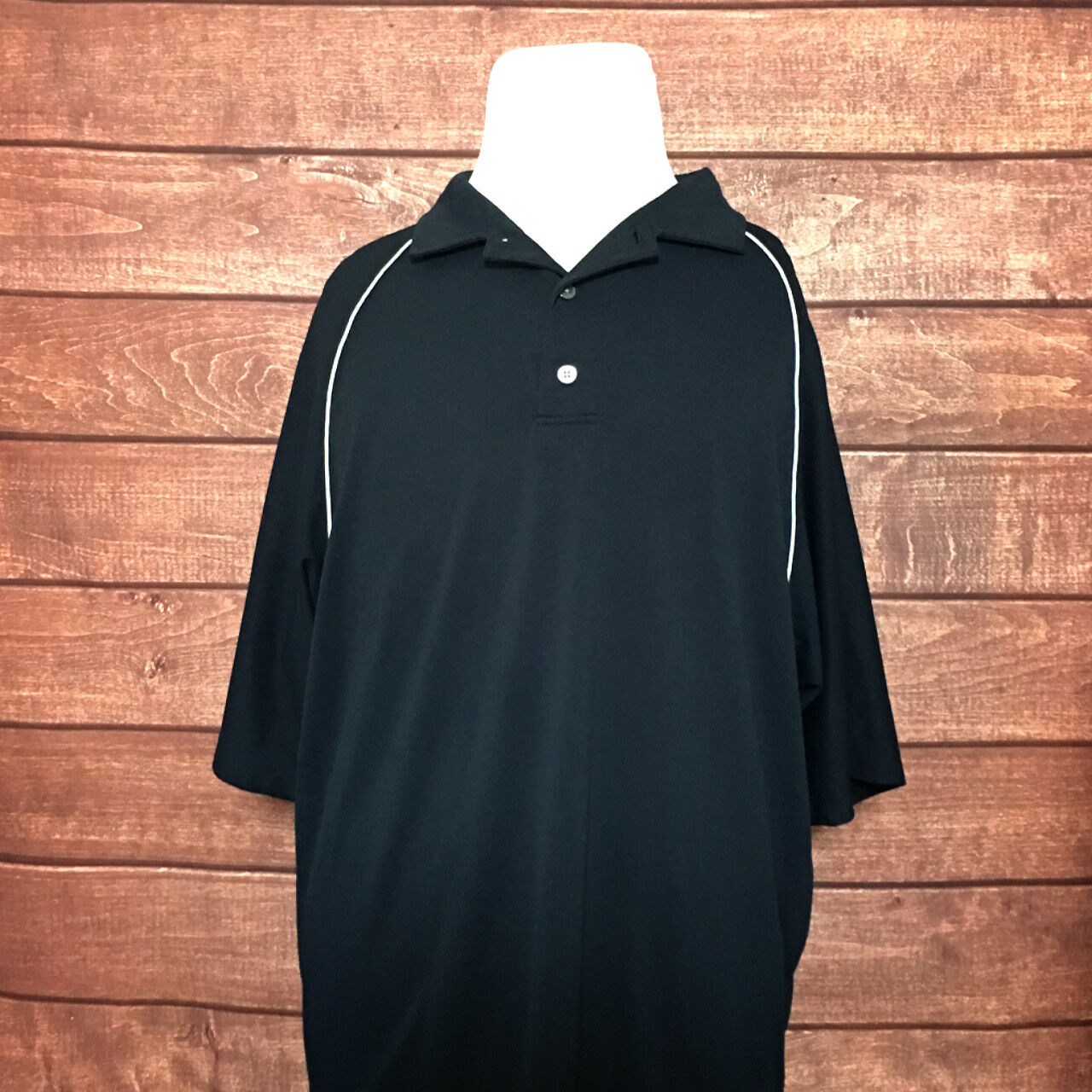 FootJoy Mens Short Sleeve Polo Shirt Navy bluee White Button Front Size Large