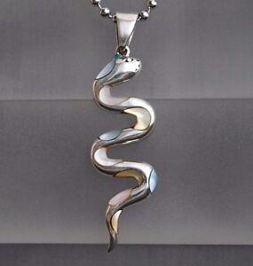 Schlangen-Perlmutt-Damen-Anhaenger-925-Sterling-Silber-Medusa-Python-in-3-Farben