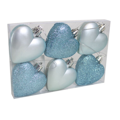 Plain Hearts Christmas Decoration 6 Pack 50mm Glitter Glaçon Blue