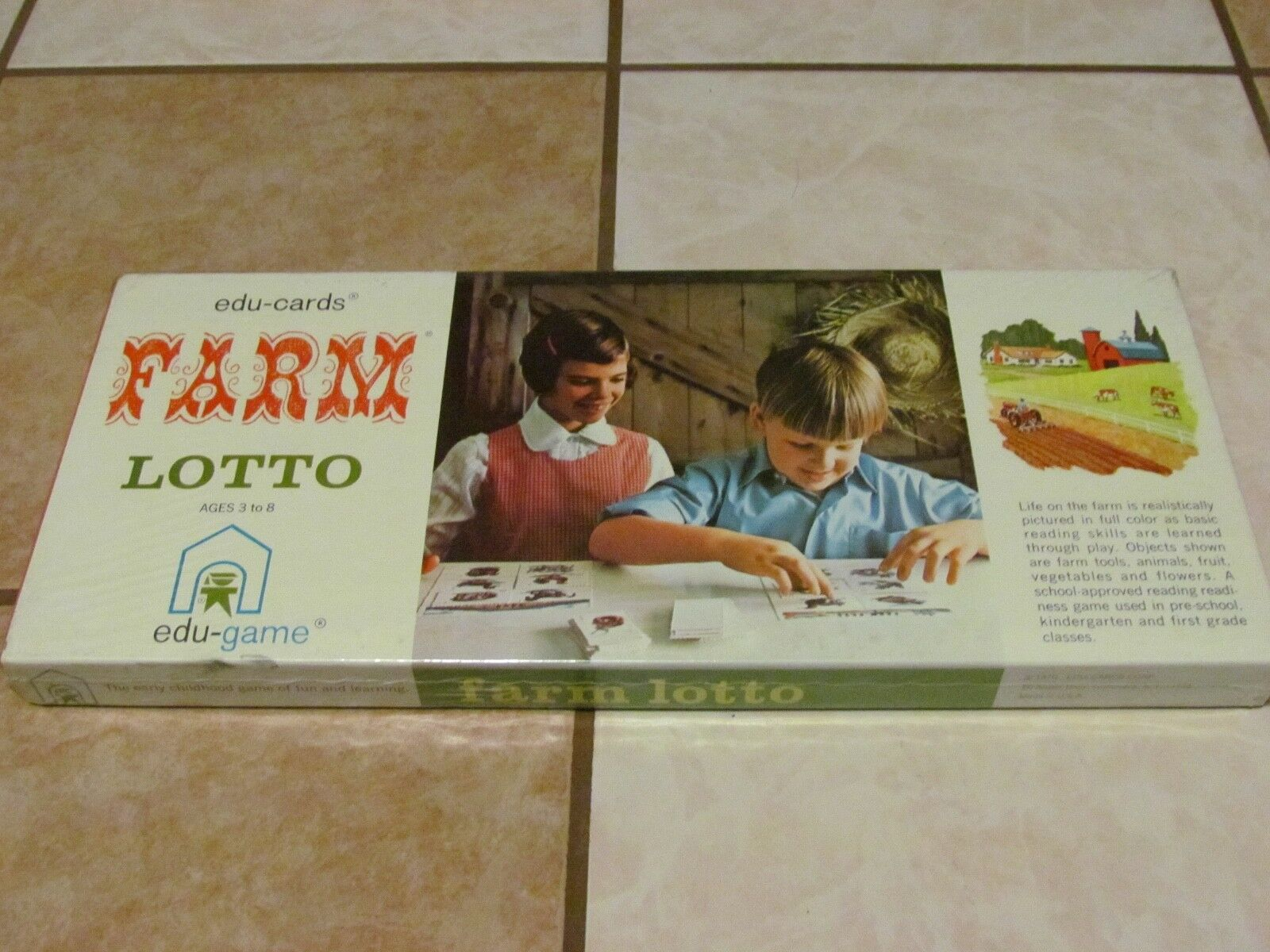 NEW SEALED EDU-CARDS FARM LOTTO 1970 EDU-GAME RARE VINTAGE FUN LEARNING