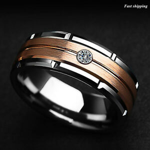 8mm-Silver-Tungsten-Ring-Rose-Gold-Brushed-Diamond-ATOP-LUXURY-Men-Wedding-Band