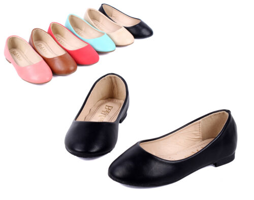 Black Simple Dressy Silp On Casual Kids Girls Flats Shoes Youth Size 12