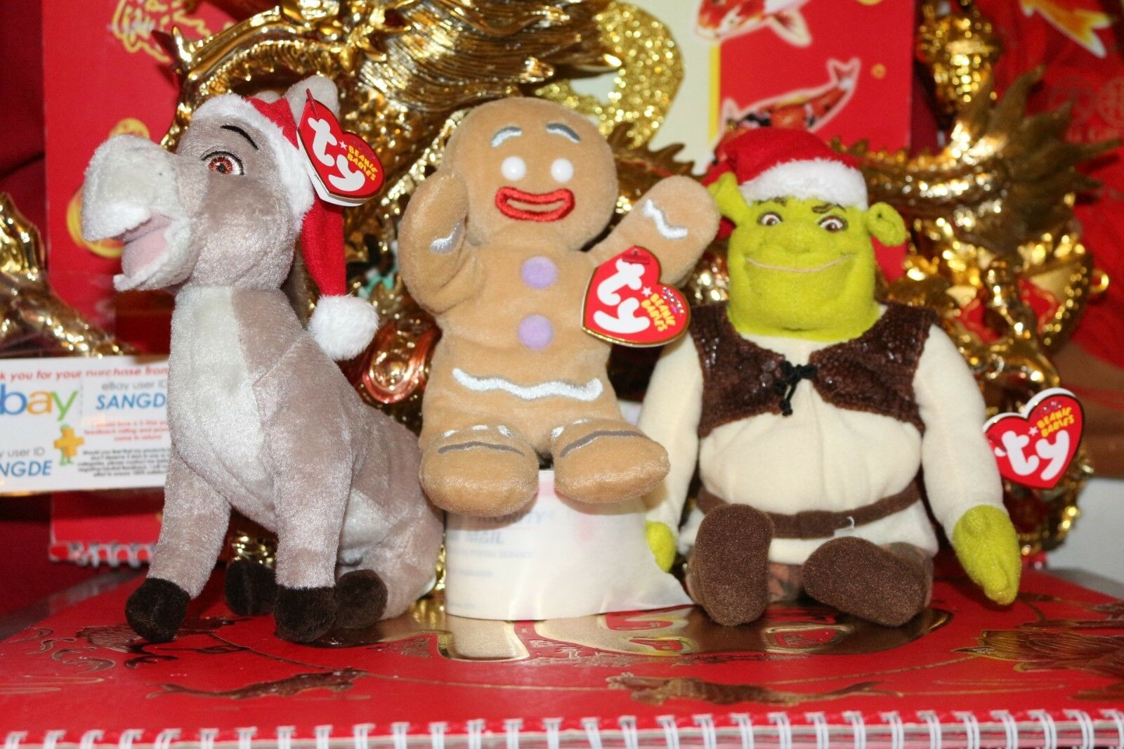 TY BEANIES GINGY + DONKEY + SHREK FROM  SHREK THE HALLS  MOVIE-7 -2008-MWNMT