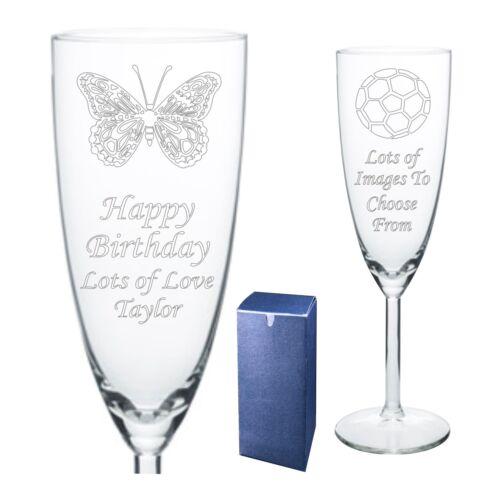 Gravée flûte à champagne 80E 85e 90e 95e rang 100e Anniversaire Cadeau-présent