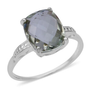 Solitaire-Ring-925-Sterling-Silver-Cushion-Green-Amethyst-Jewelry-for-Women