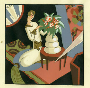 1930s-French-Pochoir-Print-Edouard-Halouze-Artdeco-Young-Woman-Vase-Flowers