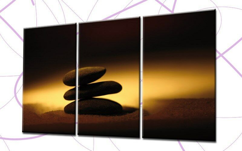 Shadow stones 120x80cm 3 Images toile Feng shui or