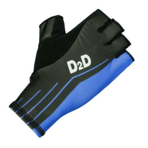 Red Black D2D Second Skin Aero Fingerless Cycling Gloves Blue and Fluoro